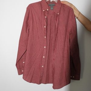 Men's Red and White Checkered Button Down Shirt